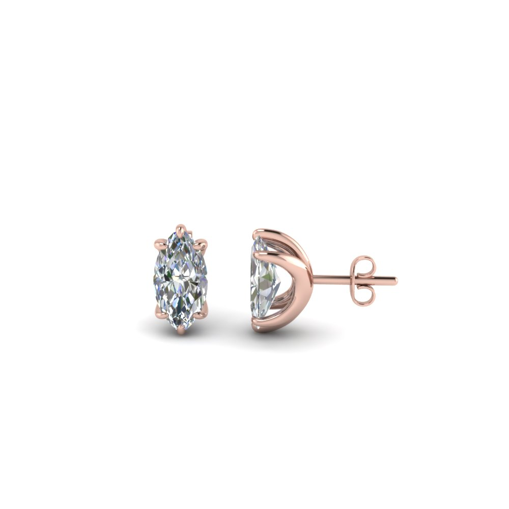 Diamond Rose Gold Stud Earrings
