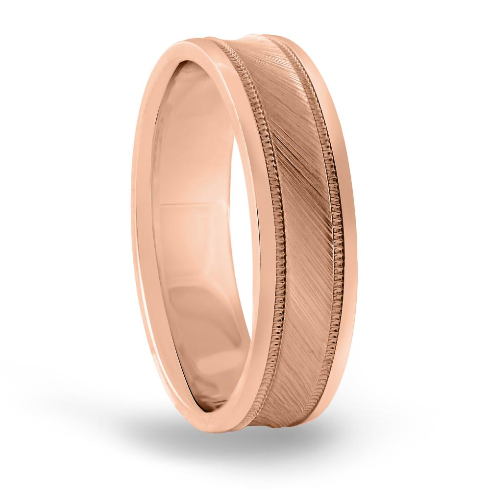 6MM concave brush mens wedding band in FDN18037H NL RG
