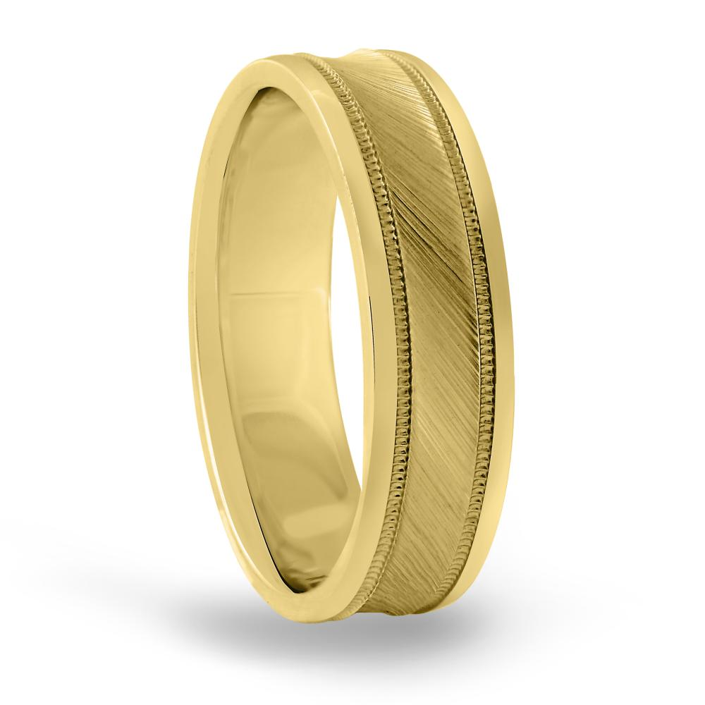6MM concave brush mens wedding band in FDN18037H NL YG