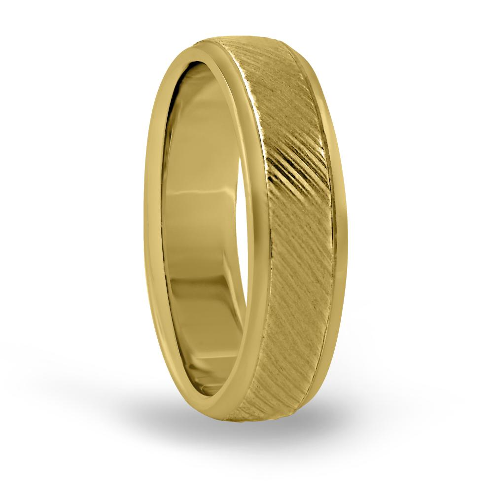 6MM mens engraved wedding band in FDN18009H NL YG
