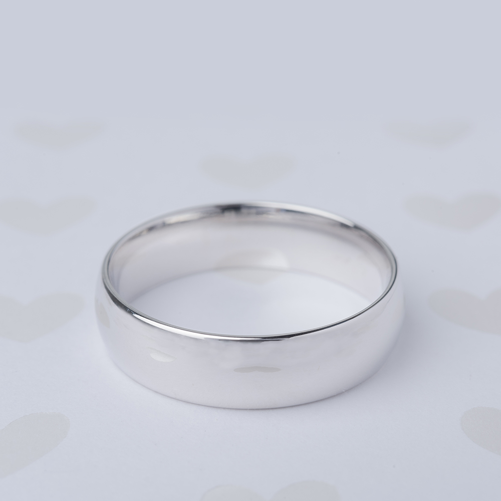 6MM white gold wedding band for male FDM141783 6MM