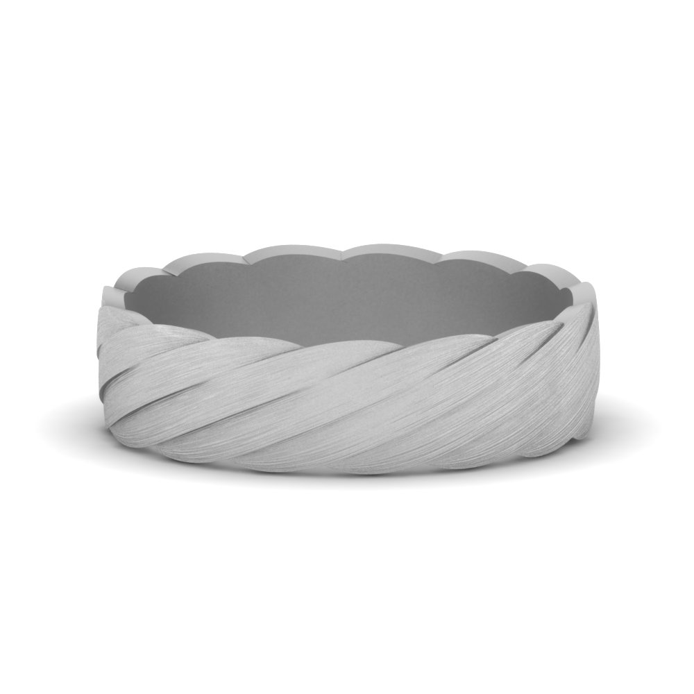 6mm Mens Platinum Twisted Band