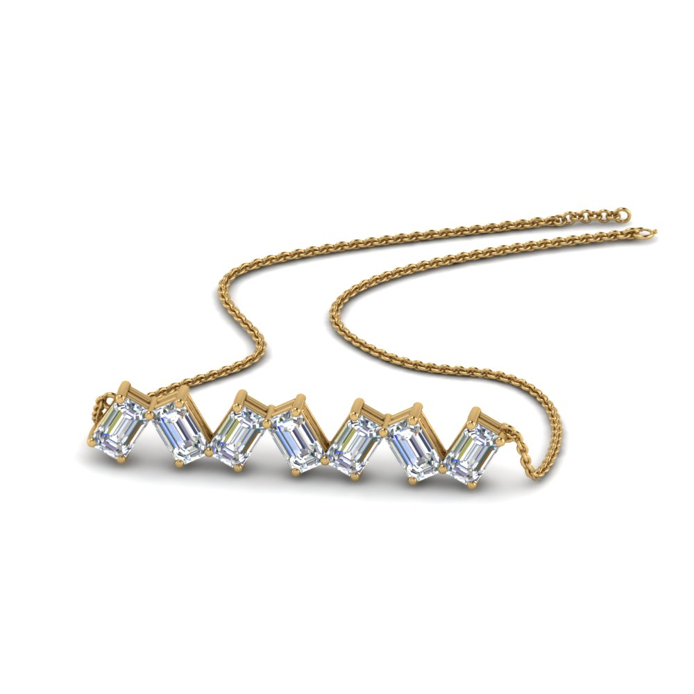 7 emerald cut diamond zig zag pendant in 14K yellow gold FDNK8326 NL YG