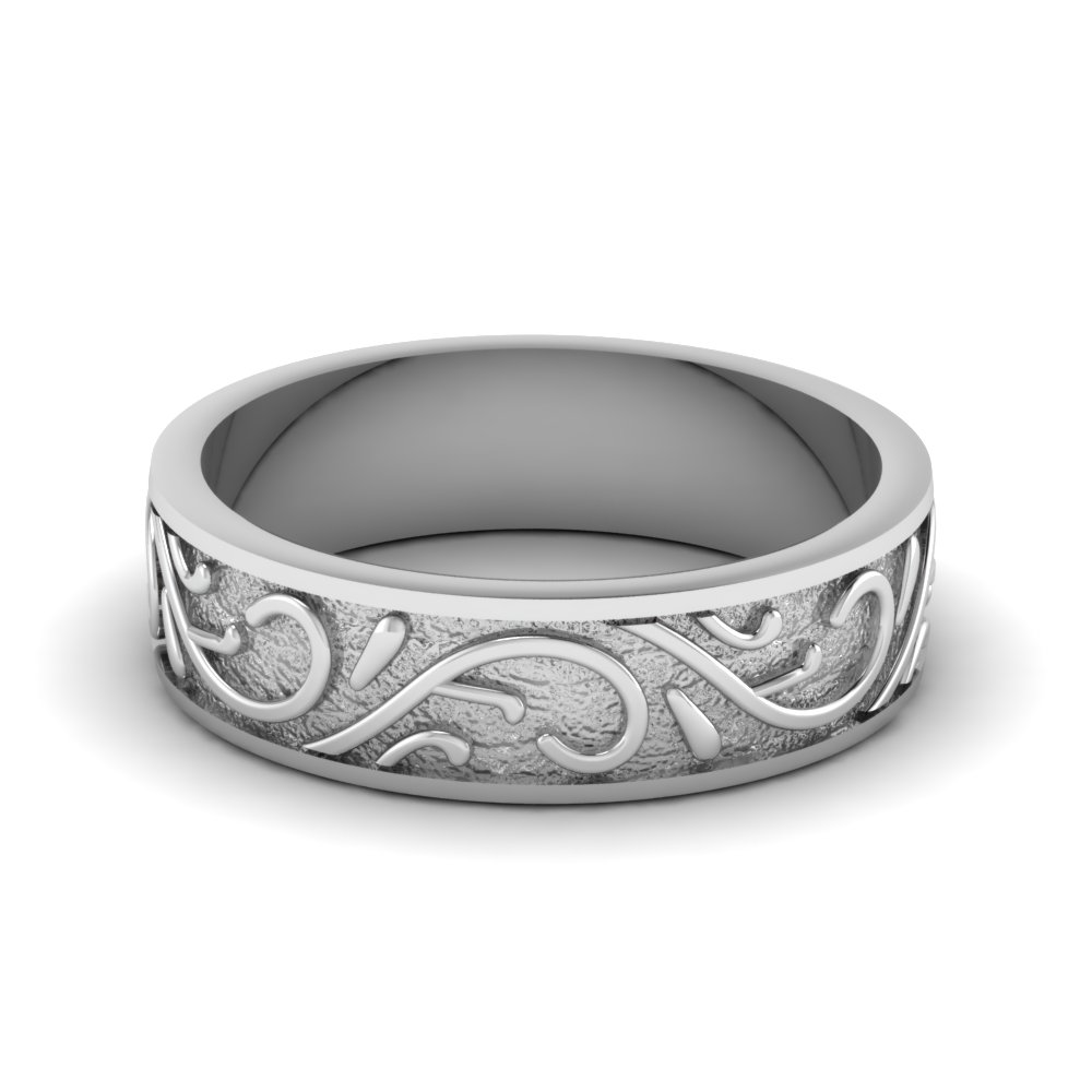 7 MM Platinum Engraved Band