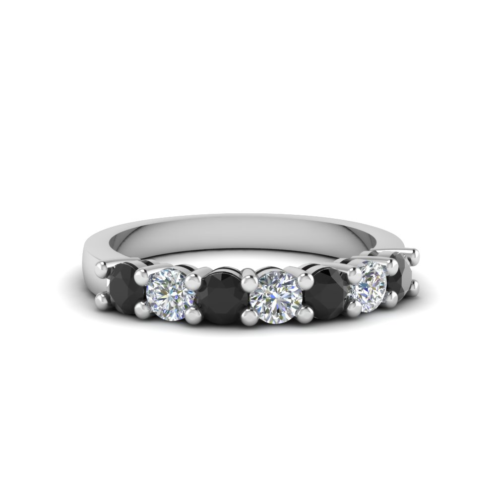 7 stone anniversary band with black diamond in 950 Platinum FDENS141BGBLACK NL WG