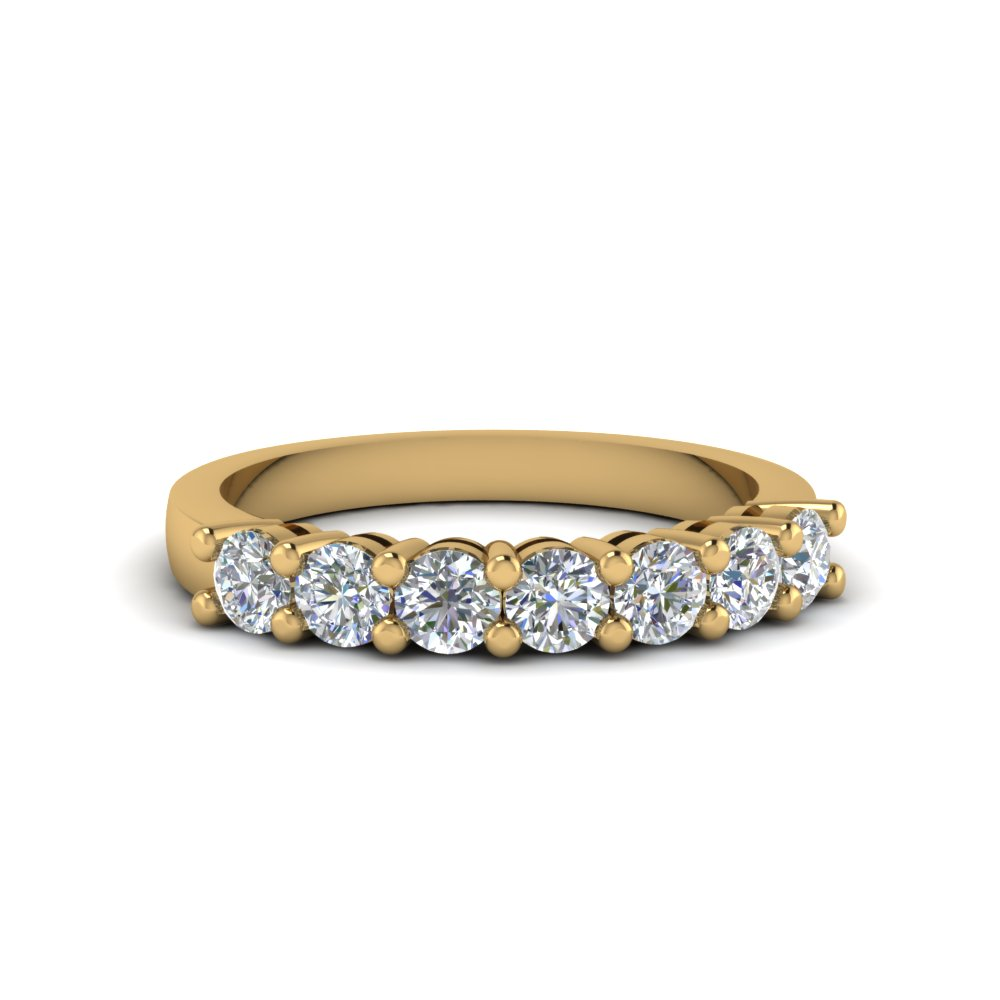 7 stone diamond anniversary band in 14K yellow gold FDENS141B NL YG