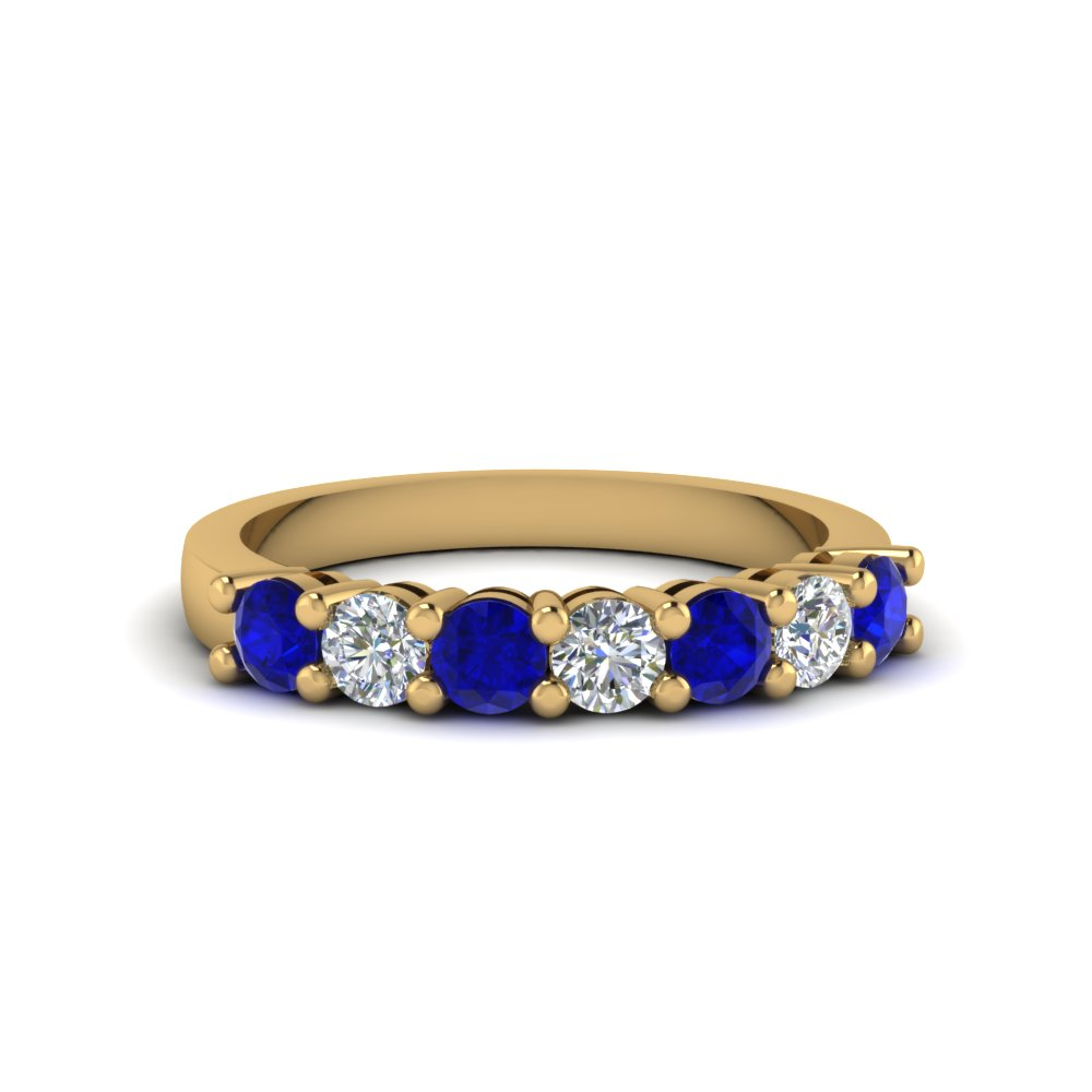 7 stone anniversary band with sapphire in 14K yellow gold FDENS141BGSABL NL YG