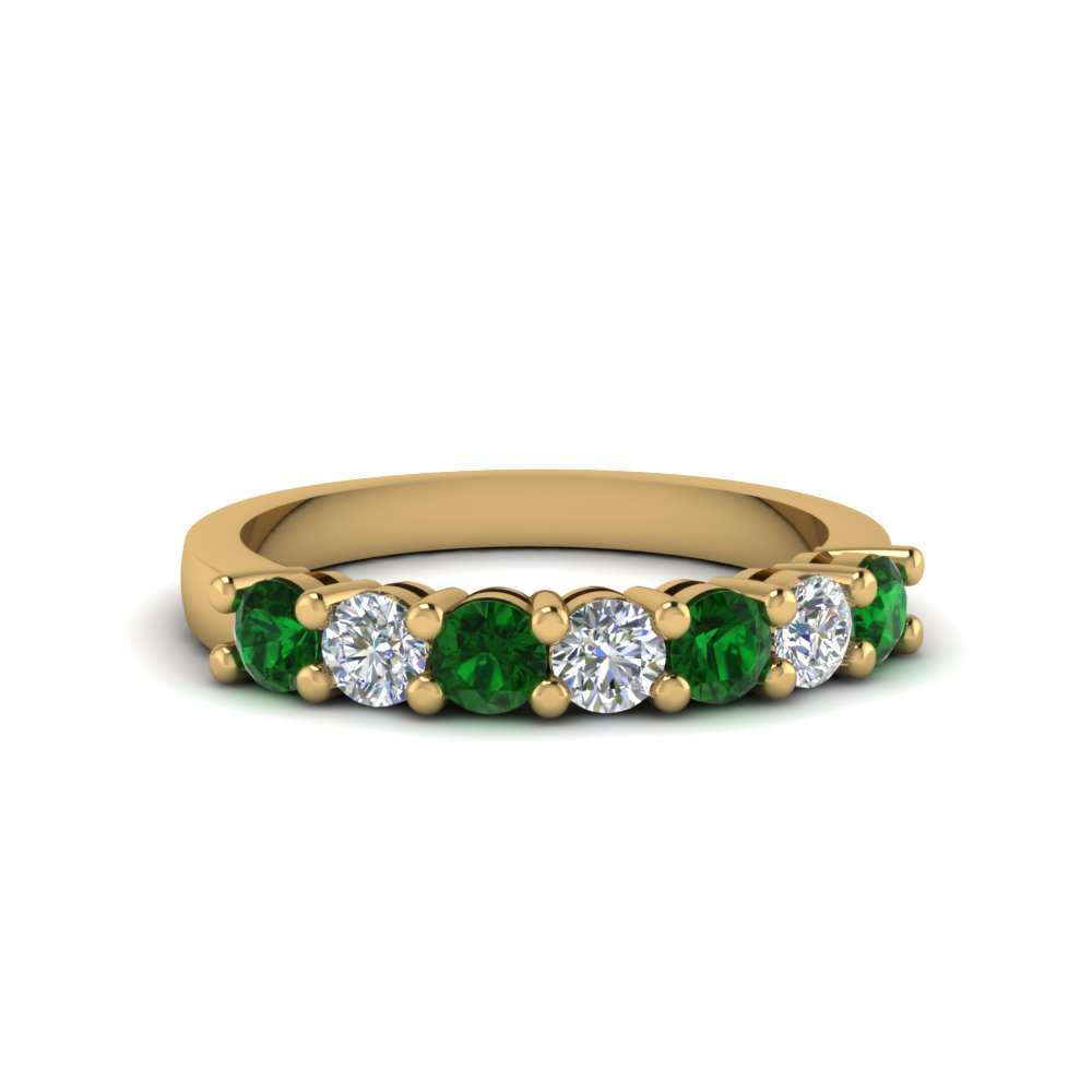7 stone anniversary band with emerald in 18K yellow gold FDENS141BGEMGR NL YG