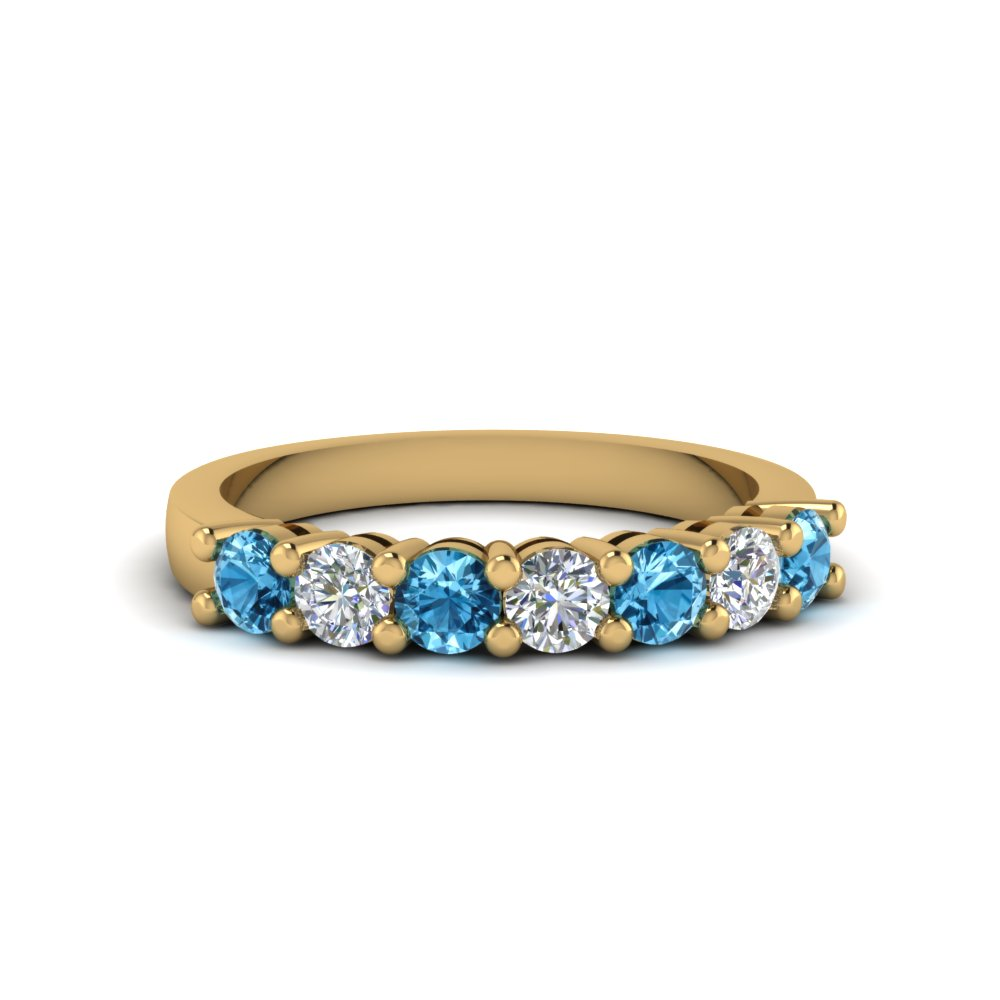 7 stone anniversary band with blue topaz in 14K yellow gold FDENS141BGICBLTO NL YG