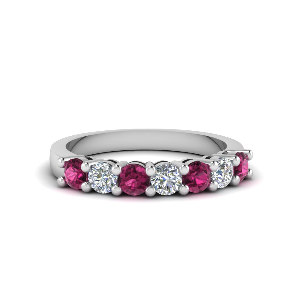 7 stone anniversary band with pink sapphire in 950 Platinum FDENS141BGSADRPI NL WG
