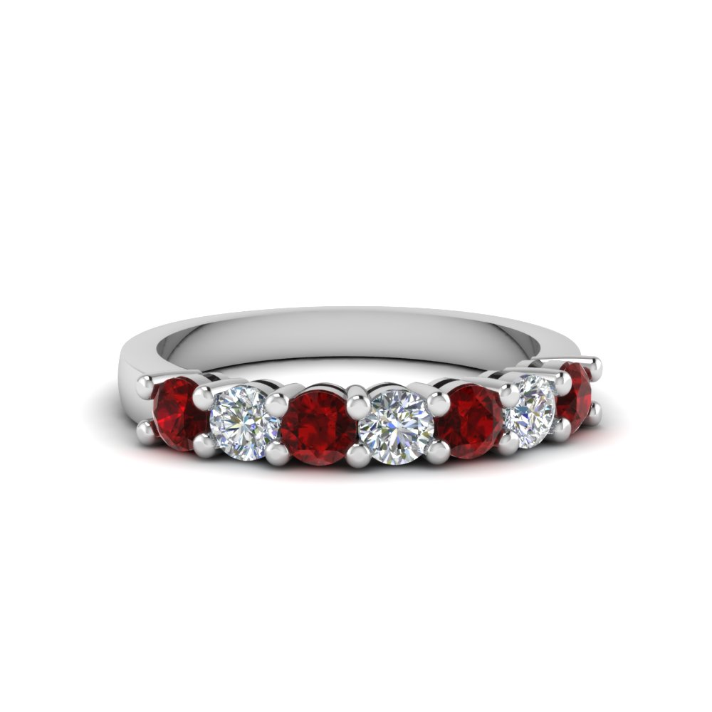 7 stone anniversary band with ruby in 14K white gold FDENS141BGRUDR NL WG