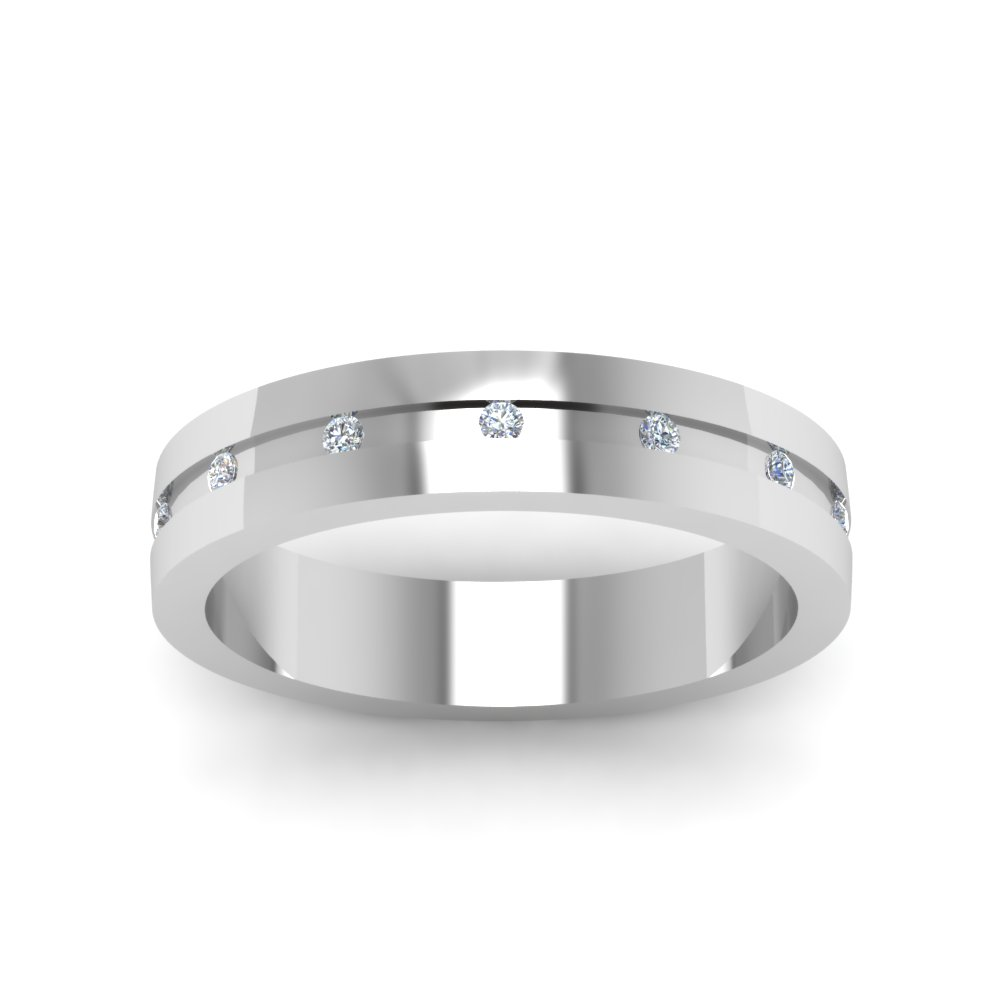 Completely new 7Mm Flat Diamond Mens Wedding Band In 14K White Gold | Fascinating  MN76