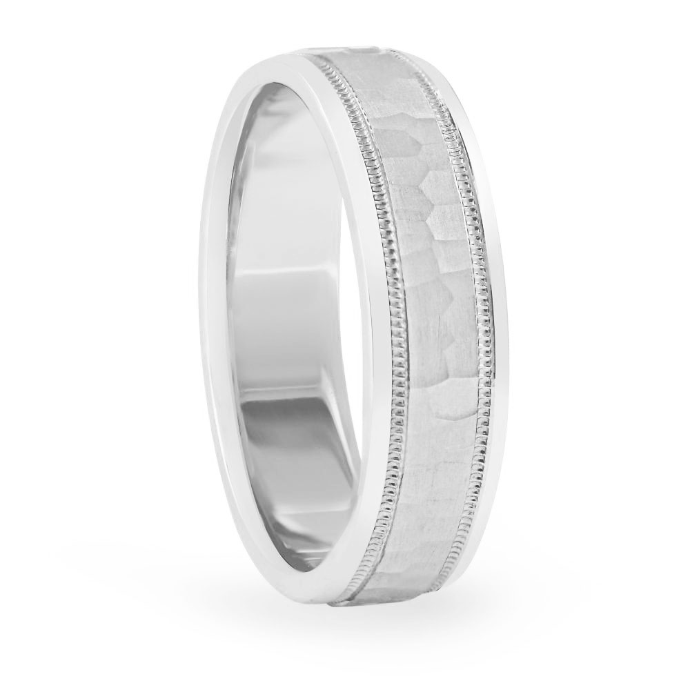 Mens Hammered Light Weight Band