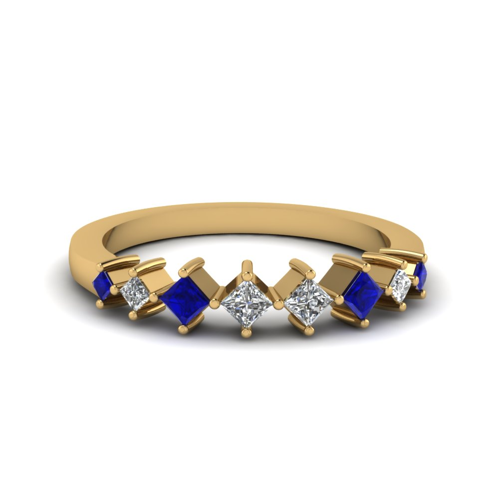 8 stone princess cut diamond wedding anniversary band gifts with blue sapphire in 14K yellow gold FDENS3126BGSABL NL YG