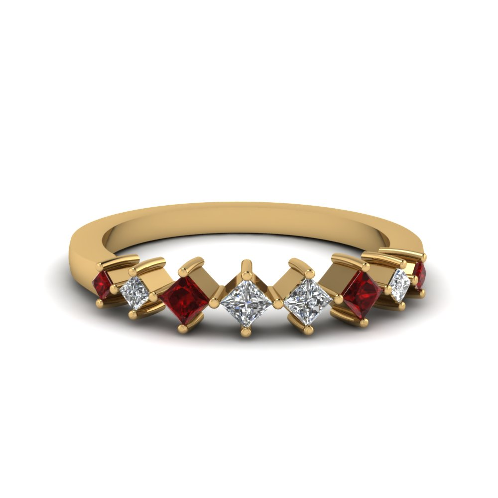8 stone princess cut diamond wedding anniversary band gifts with ruby in 14K yellow gold FDENS3126BGRUDR NL YG