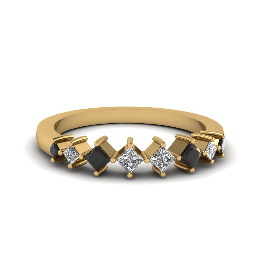 8 stone princess cut wedding anniversary band gifts with black diamond in 14K yellow gold FDENS3126BGBLACK NL YG