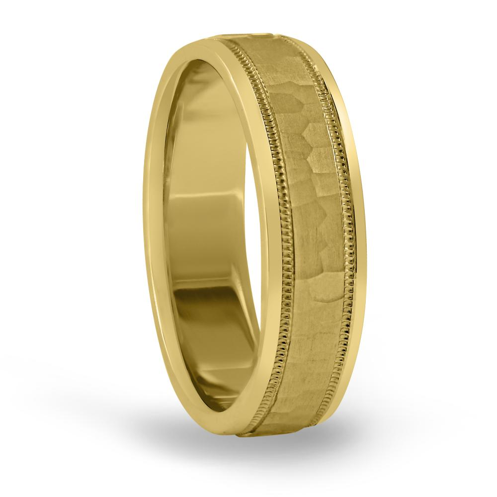 8MM light weight classic hammered mens wedding ring in 18K yellow gold FDN18045H NL YG