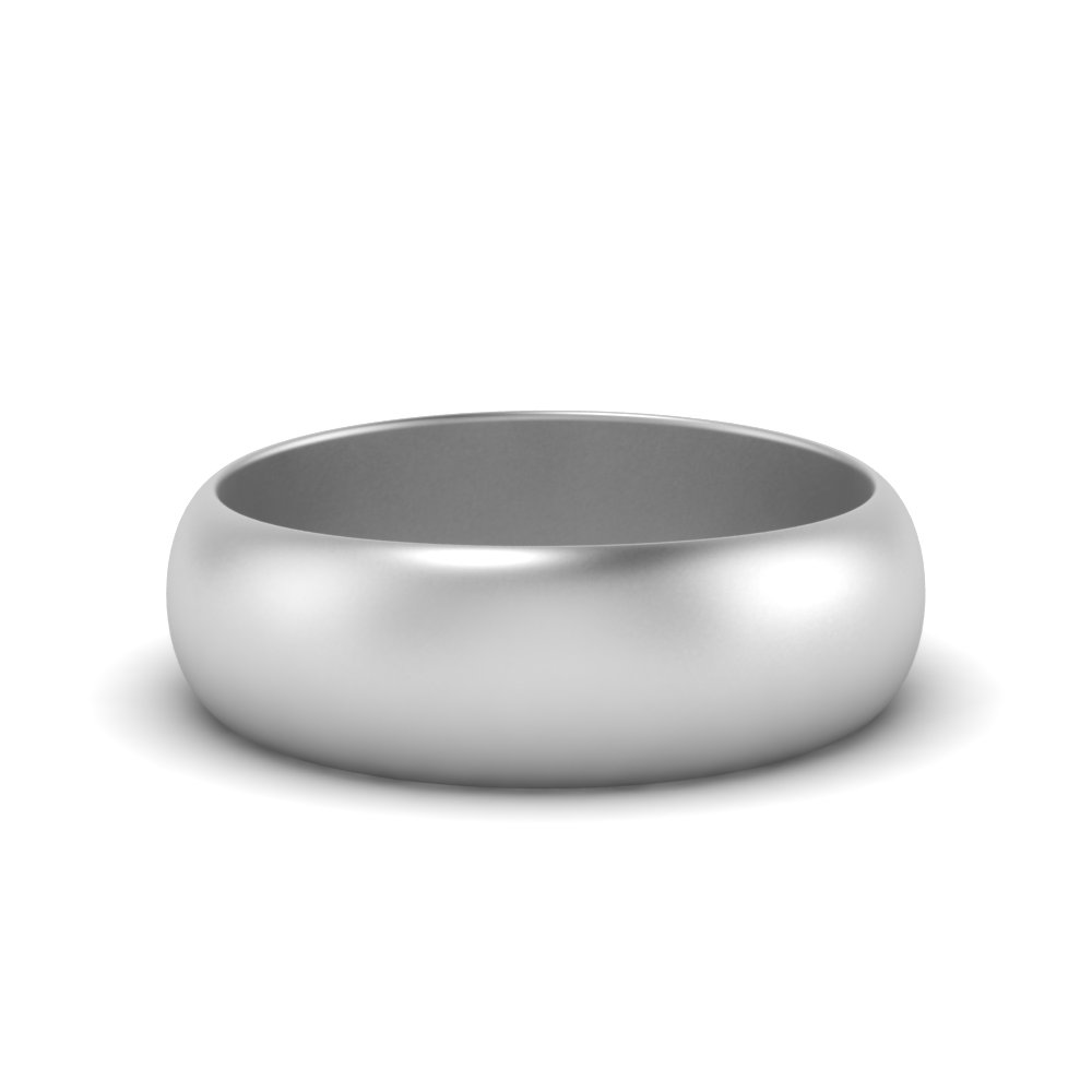 8MM matte polish wedding band cheap in 14K white gold FDHR12B 8MM NL WG