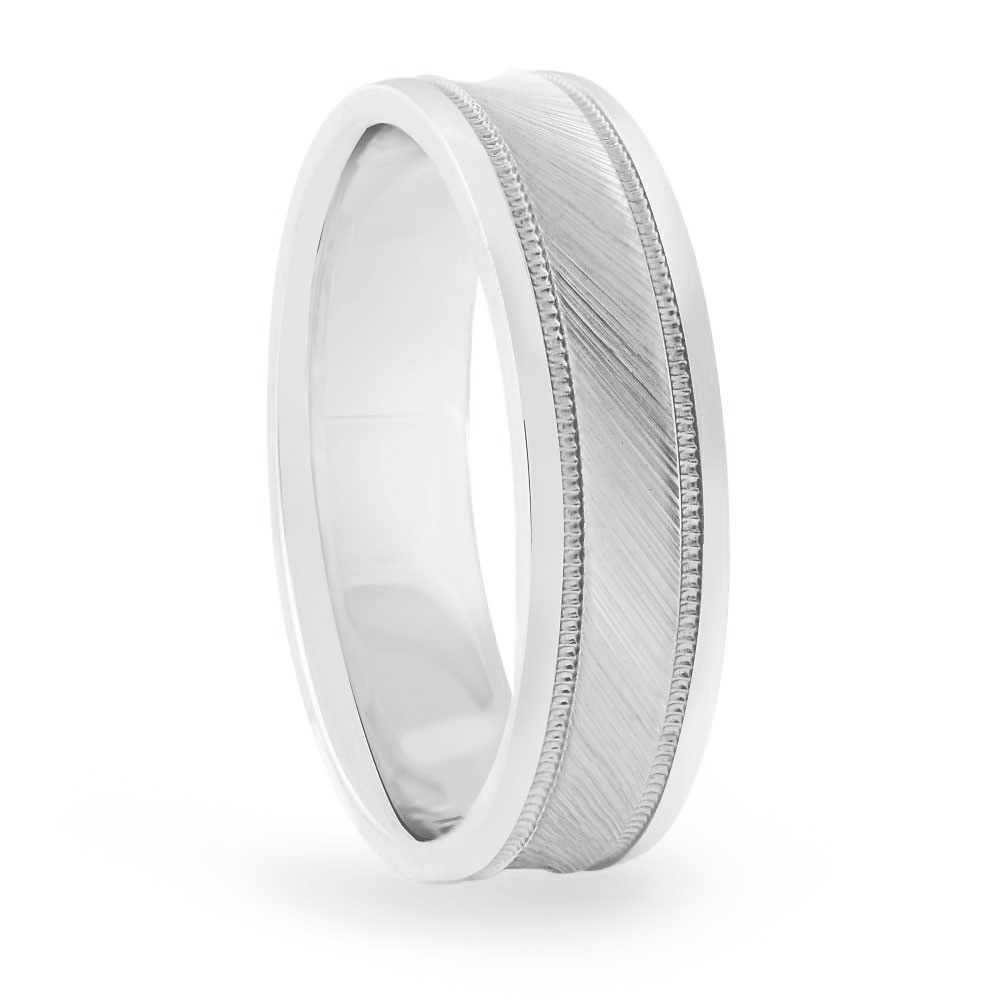 8mm light weight convex brushed platinum mens wedding band FDN18037H-8MM-P NL WG