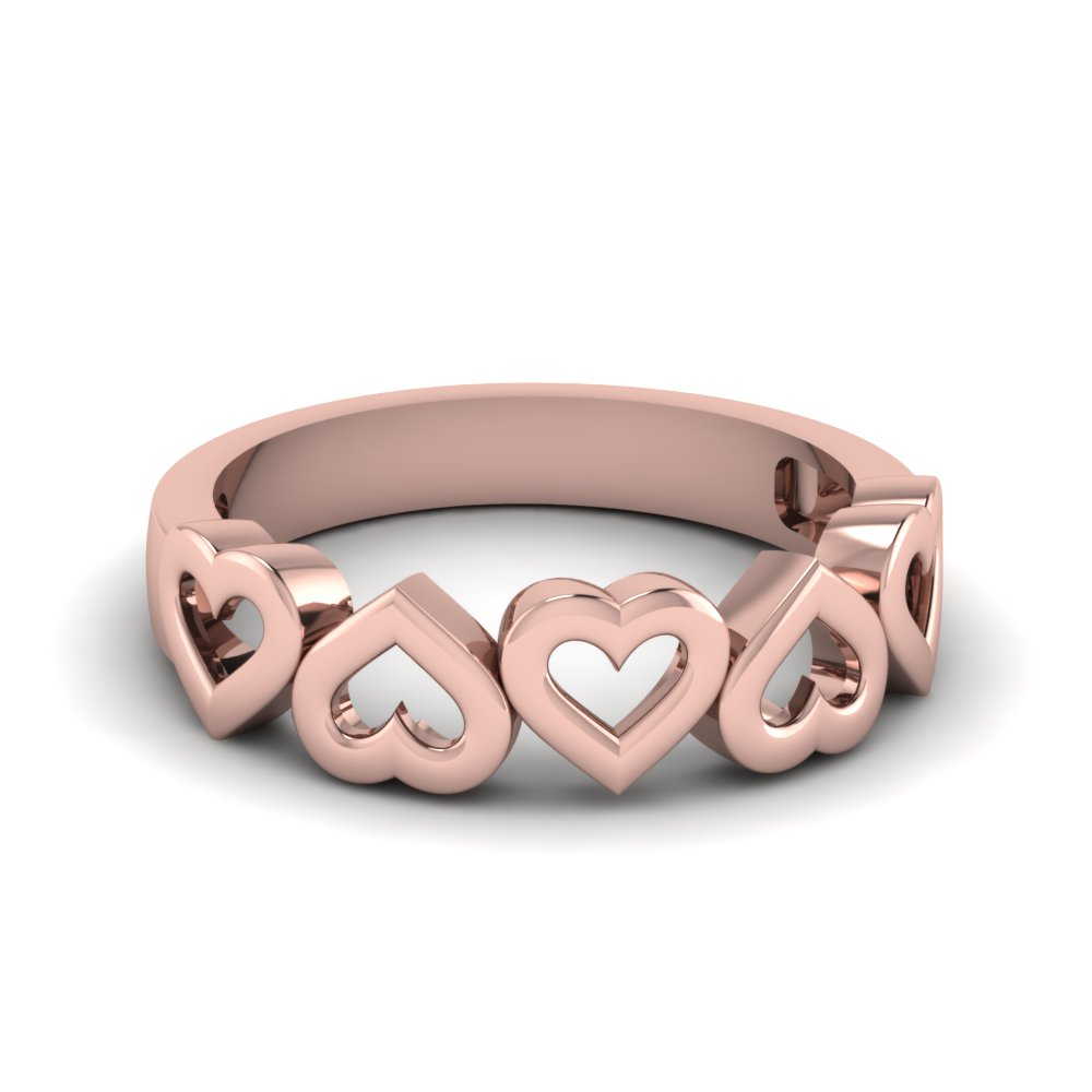 Cheap Pink Gold Wedding Band For Ladies
