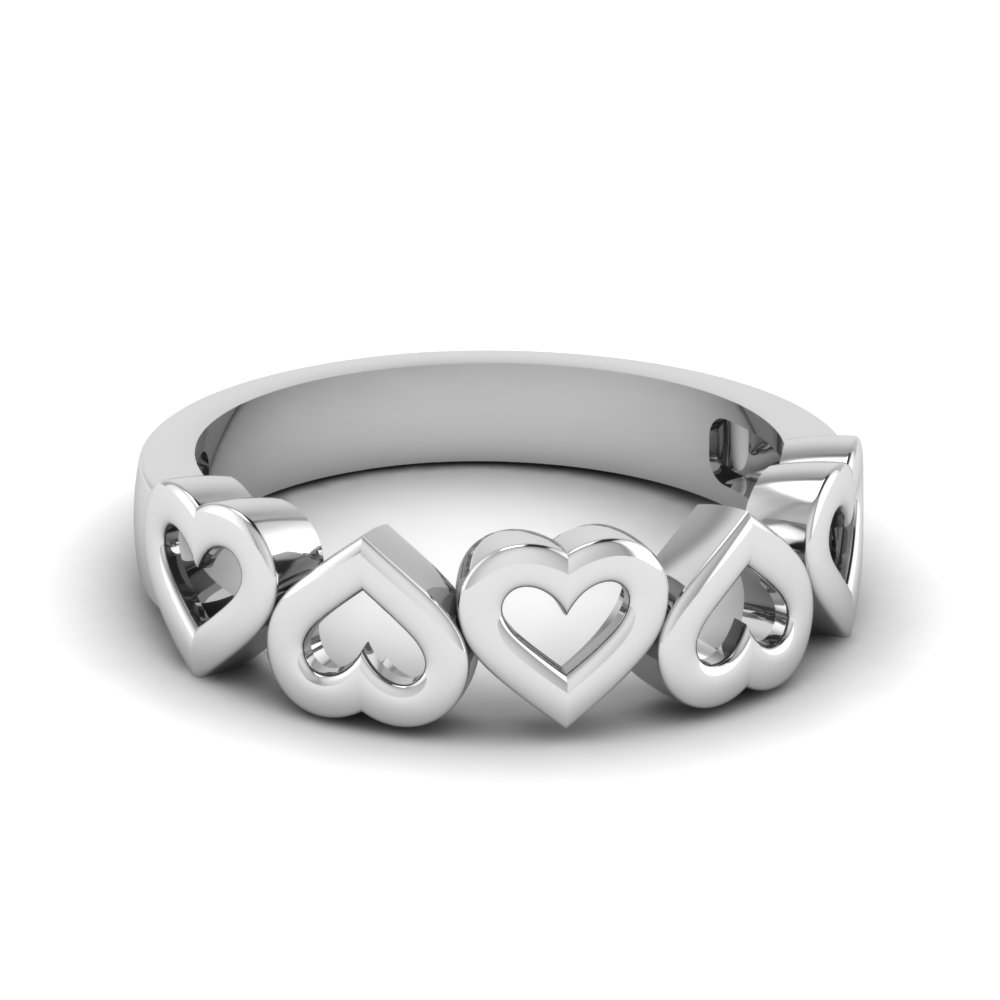 heart design wedding band in FD1147B NL WG