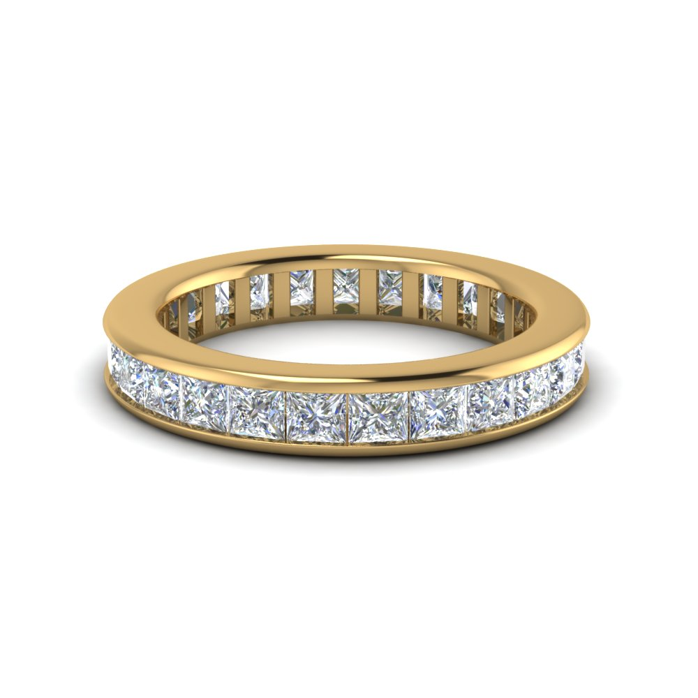4 carat Channel set princess eternity diamond band for her in FDEWB160B NL YG
