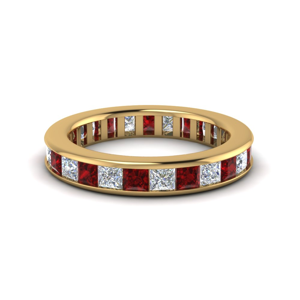 4 ct. channel set eternity diamond band for her with ruby in 14K yellow gold FDEWB160BGRUDR NL YG
