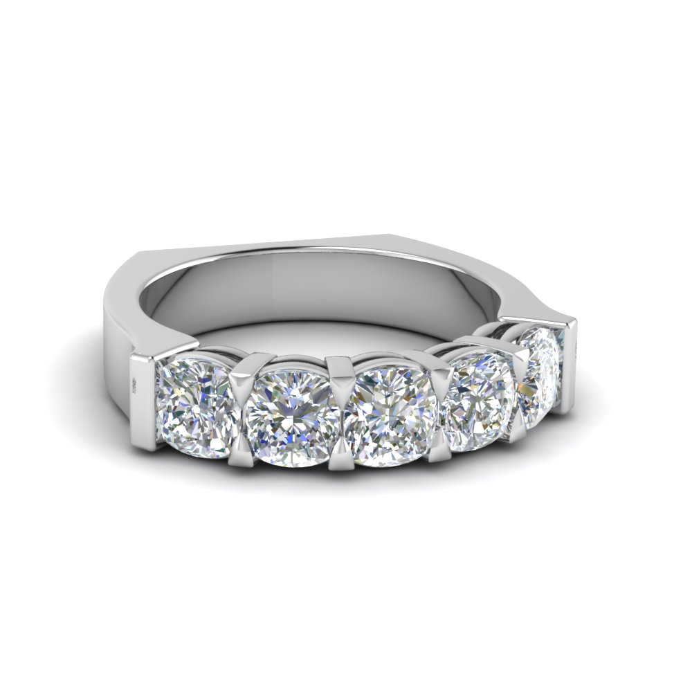 2.5 CT. Cushion Cut Five Stone Diamond Ring