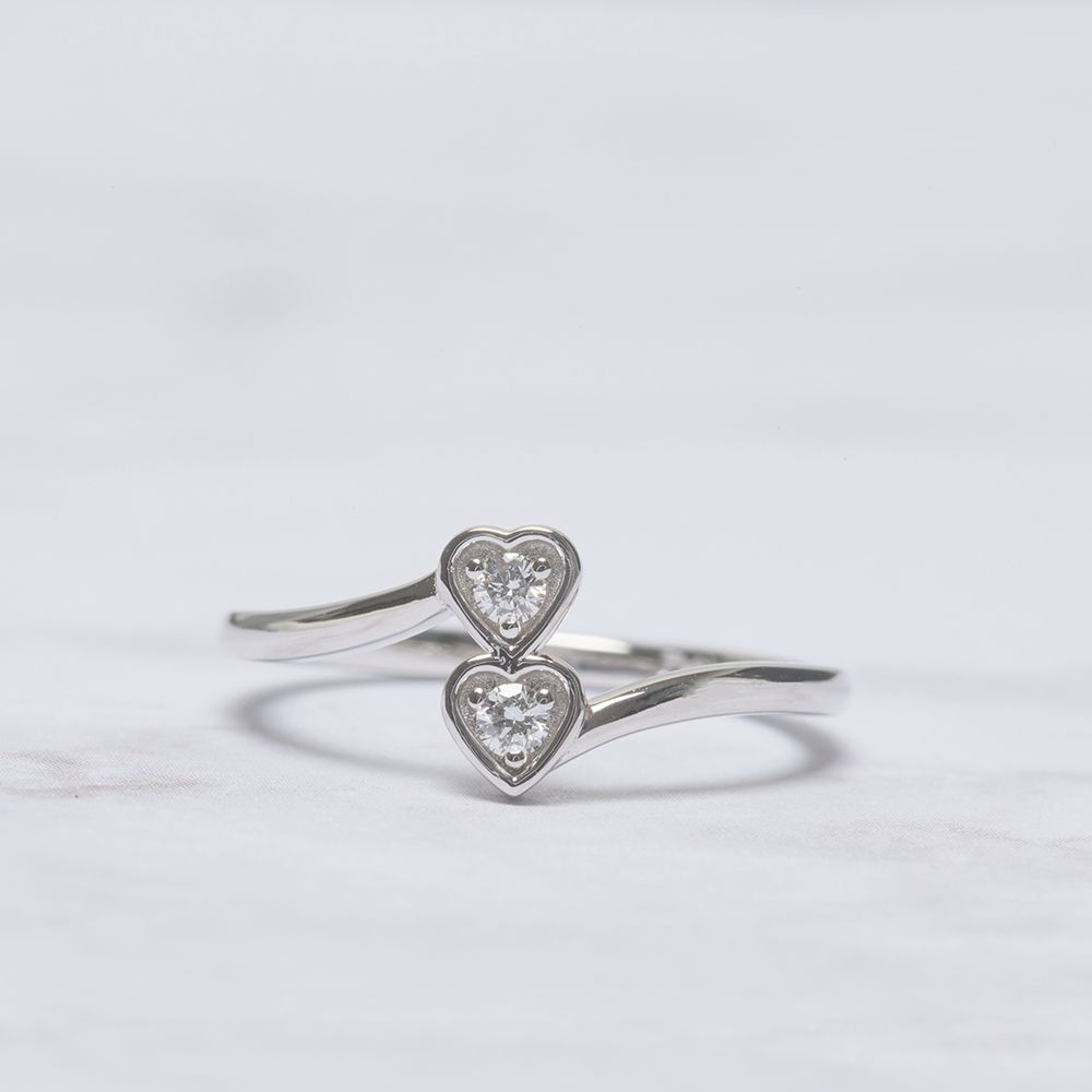 2 stone crossover promise ring in 950 platinum FD-8025ROR NL WG