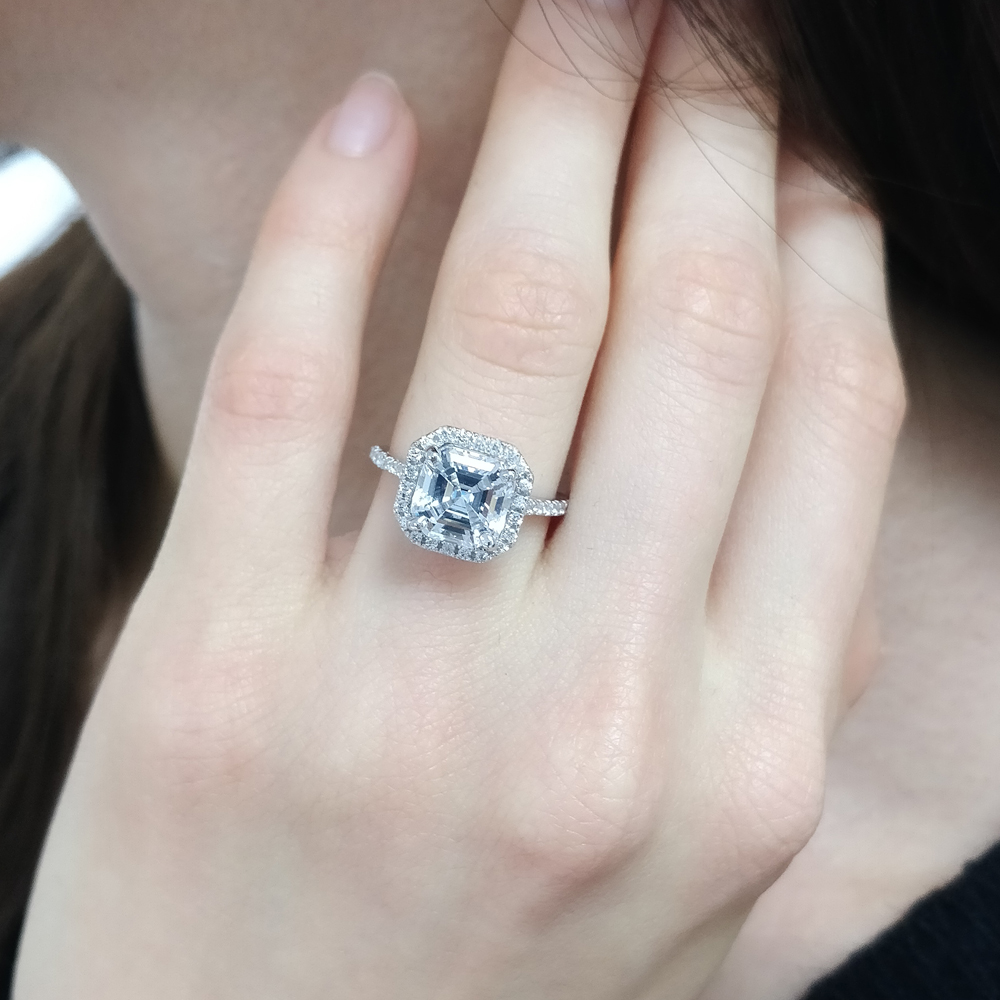 petite asscher cut moissanite halo engagement ring in FD9024ASR NL WG