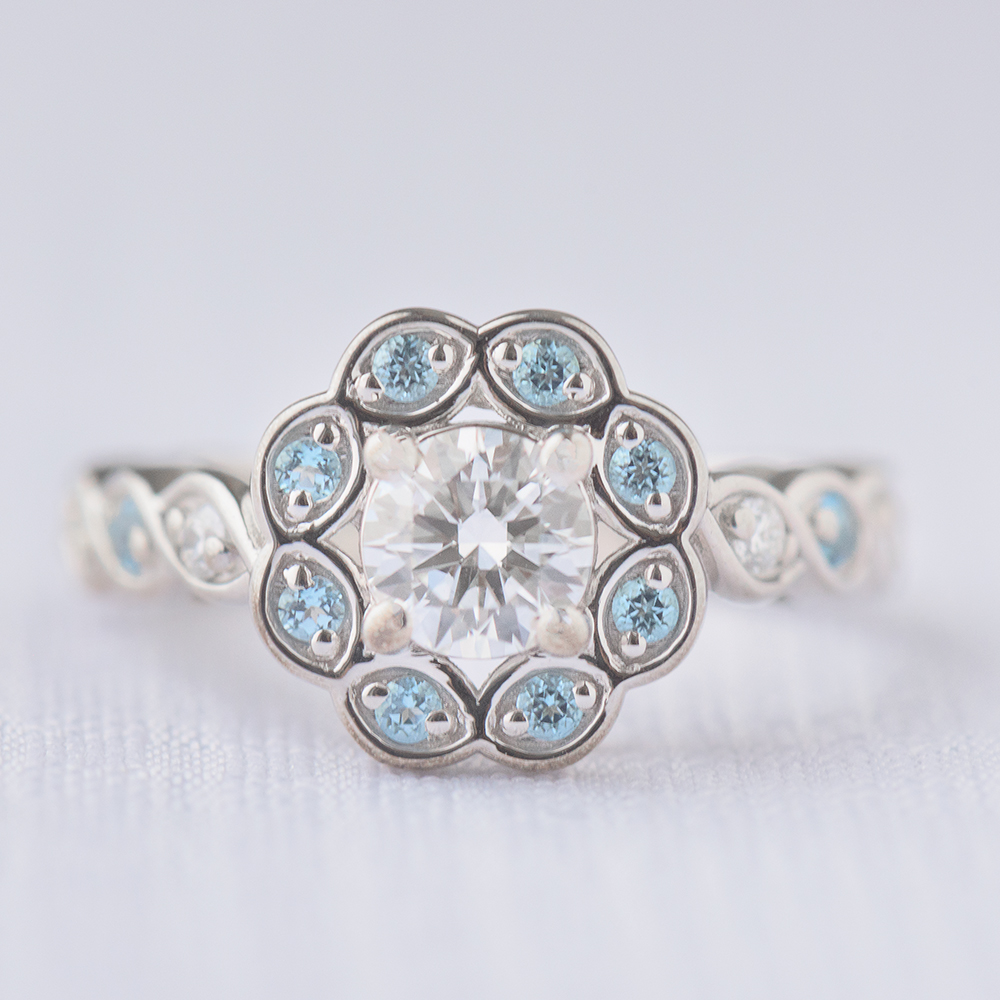 flower halo pave diamond engagement ring with blue topaz in FD1130RORGICBLTO NL WG