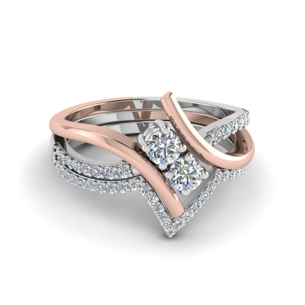 601e3f711bee85 Details about .85 Ct Round Cut Diamond 2 stone Bridal Ring Set In White Gold  And Pink Gold 14K .