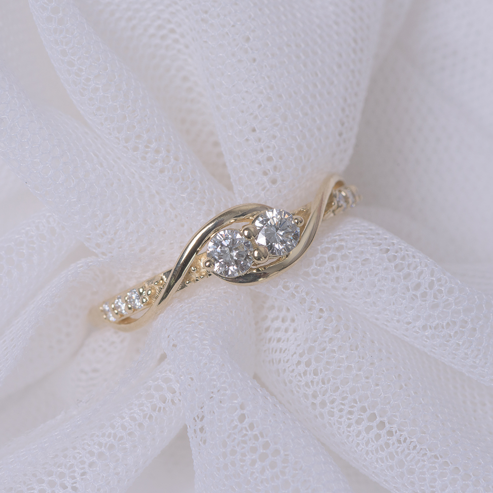 Crossover Two Stone Diamond Ring
