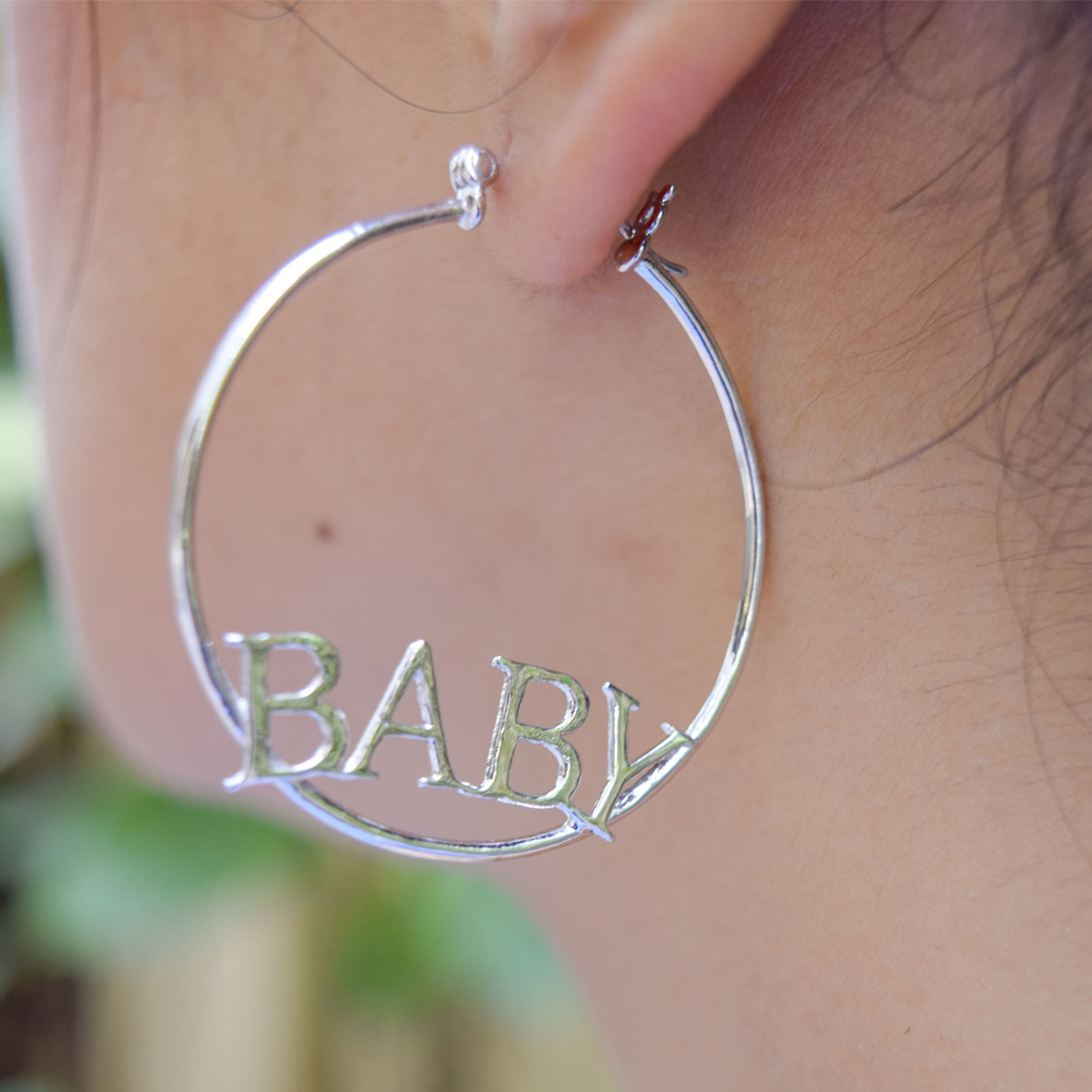 baby engraved hoop earring in FDEAR8845 NL WG