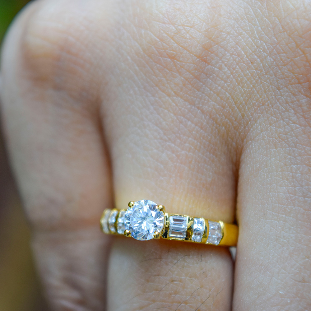 round cut baguette and princess diamond accent engagement ring in FDENR2615ROR NL YG