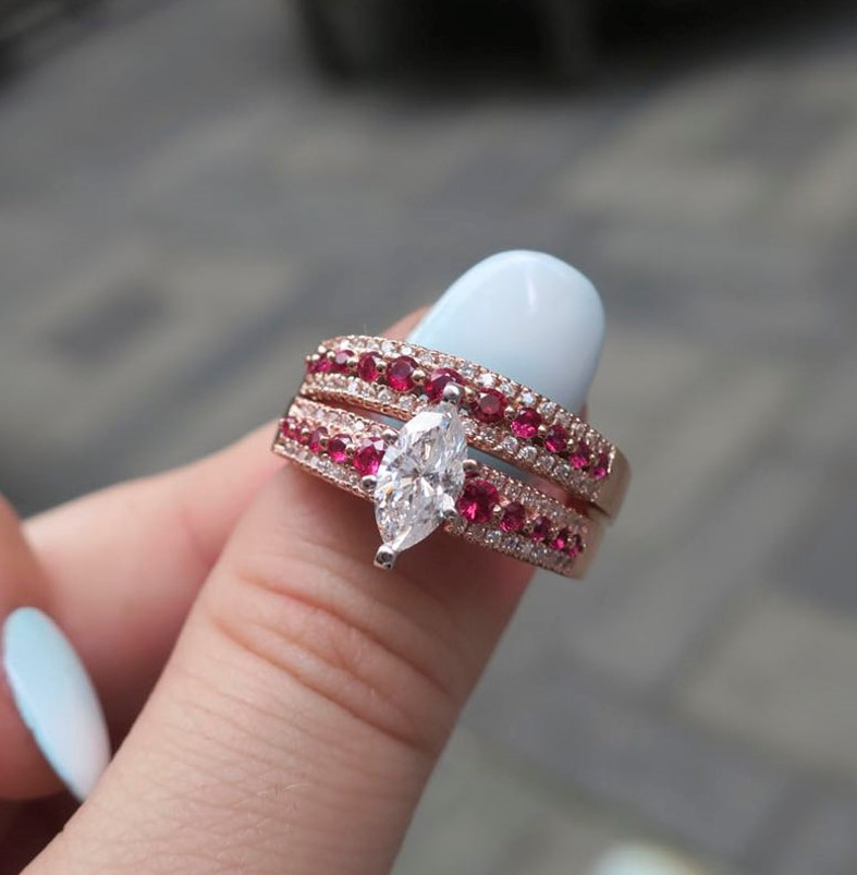 triple row marquise diamond wedding ring set with pink sapphire in FDENS3014MQGSADRPI NL RG