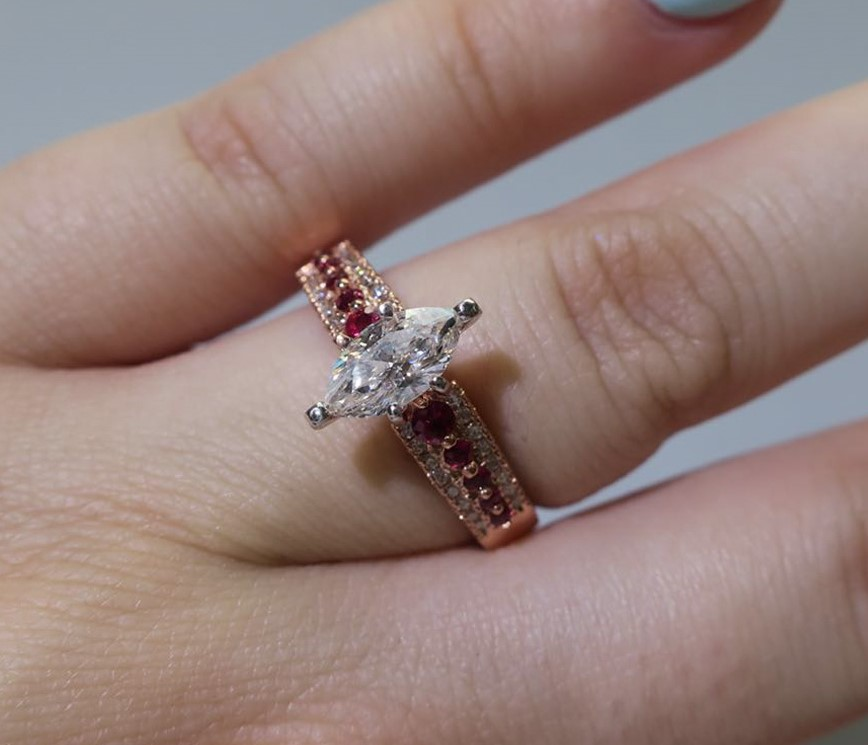 triple row marquise diamond engagement ring with pink sapphire in FDENS3014MQRGSADRPI NL RG