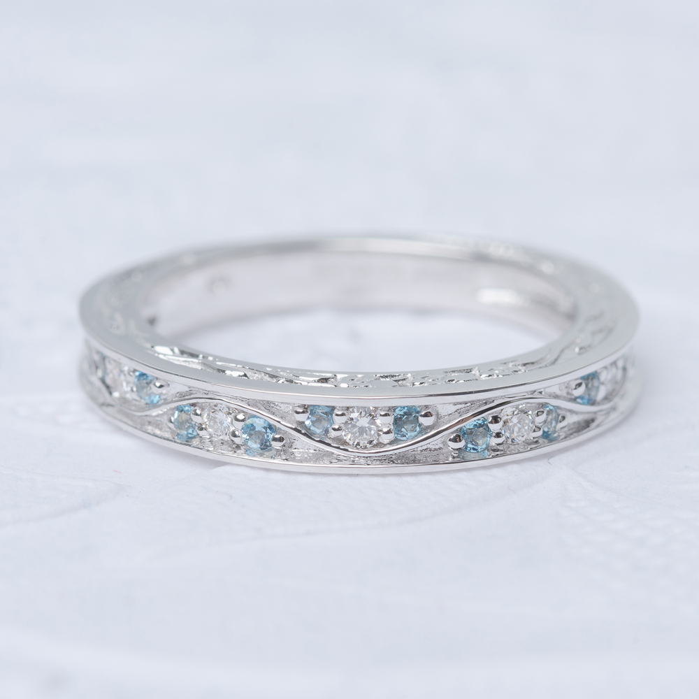 Vintage Filigree Topaz Wedding Band