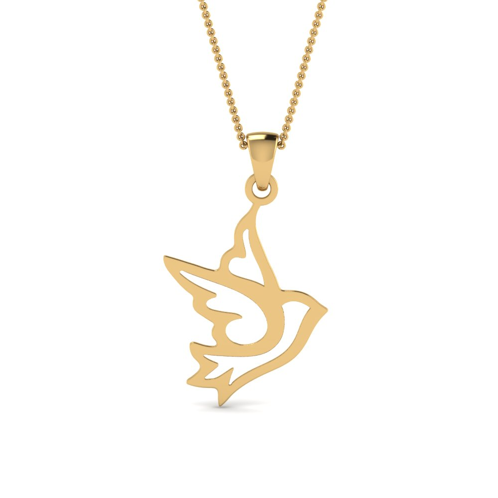 Bird Yellow Gold Pendant
