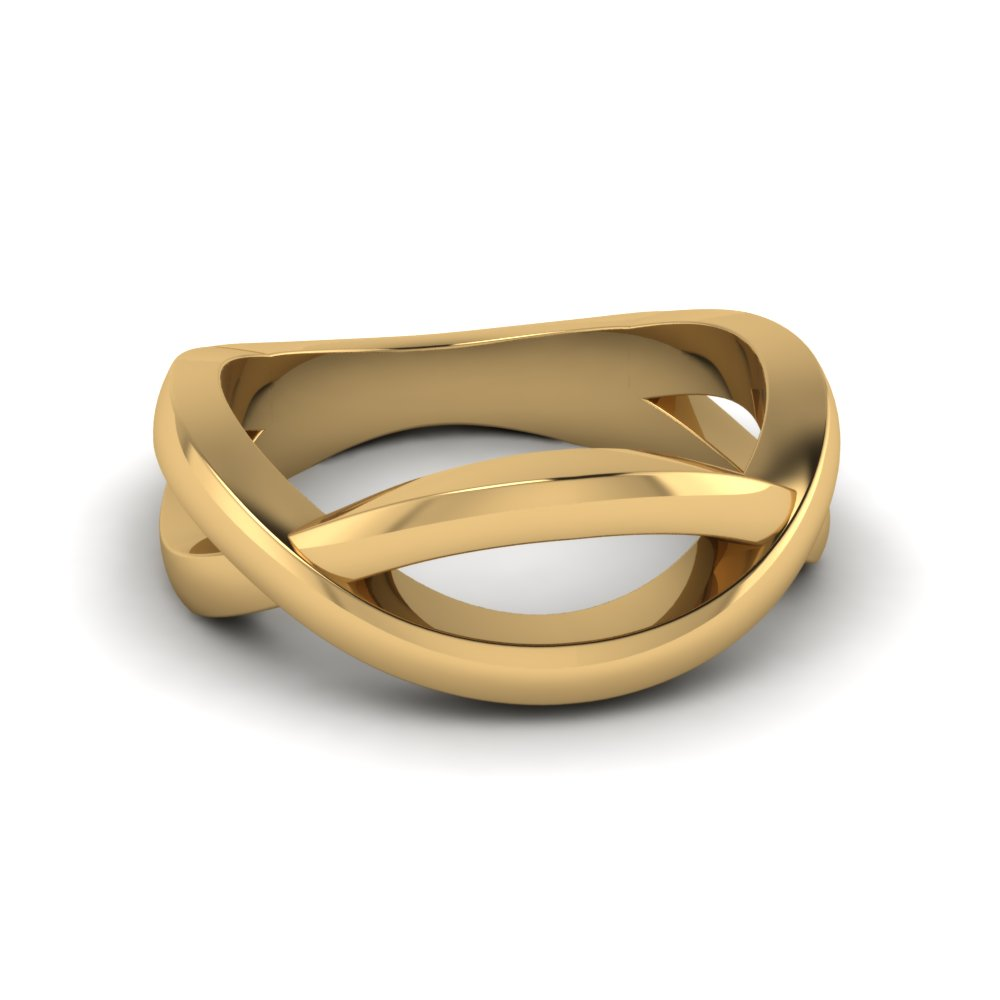 Gold interwoven eternal mens engagement ring in 14K yellow gold FD8011B NL YG