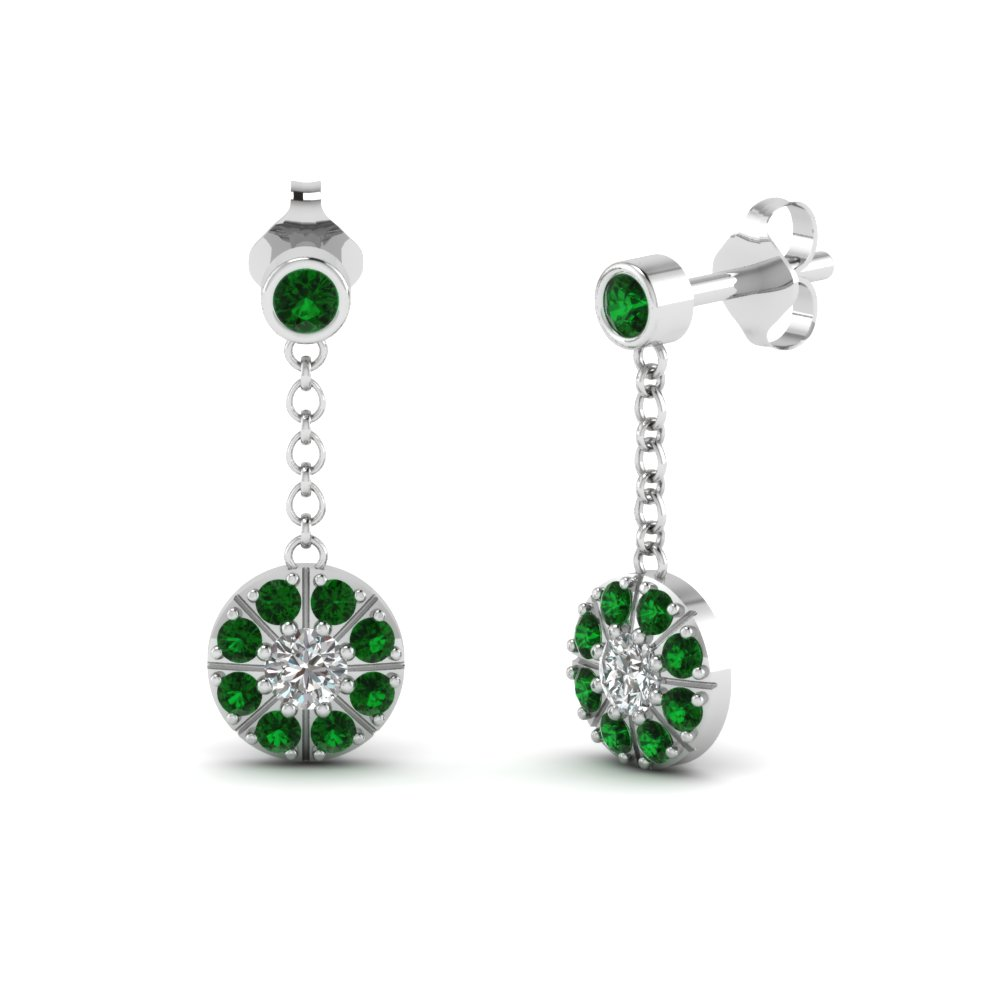 Green Emerald dangle earrings with white diamond in 14K white gold FDEAR67096GEMGR NL WG