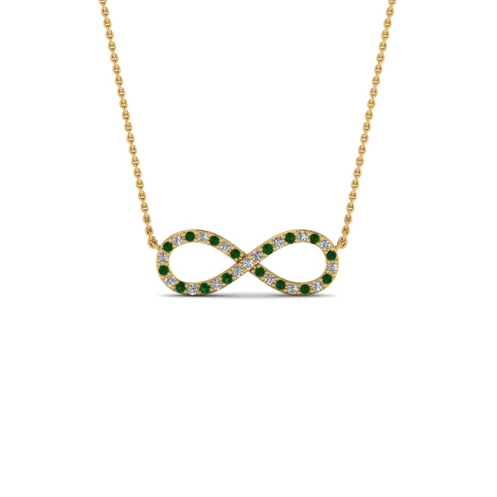 Infinity diamond necklace pendant with emerald in 18k yellow gold infinity diamond necklace pendant with emerald in fdpd8074gemgr nl yg aloadofball Gallery