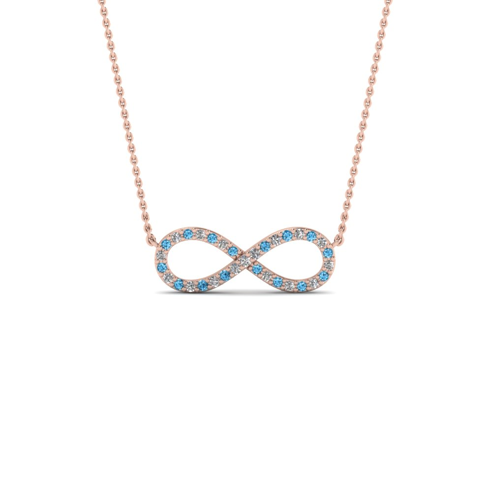 Infinity diamond necklace pendant with blue topaz in FDPD8074GICBLTO NL RG