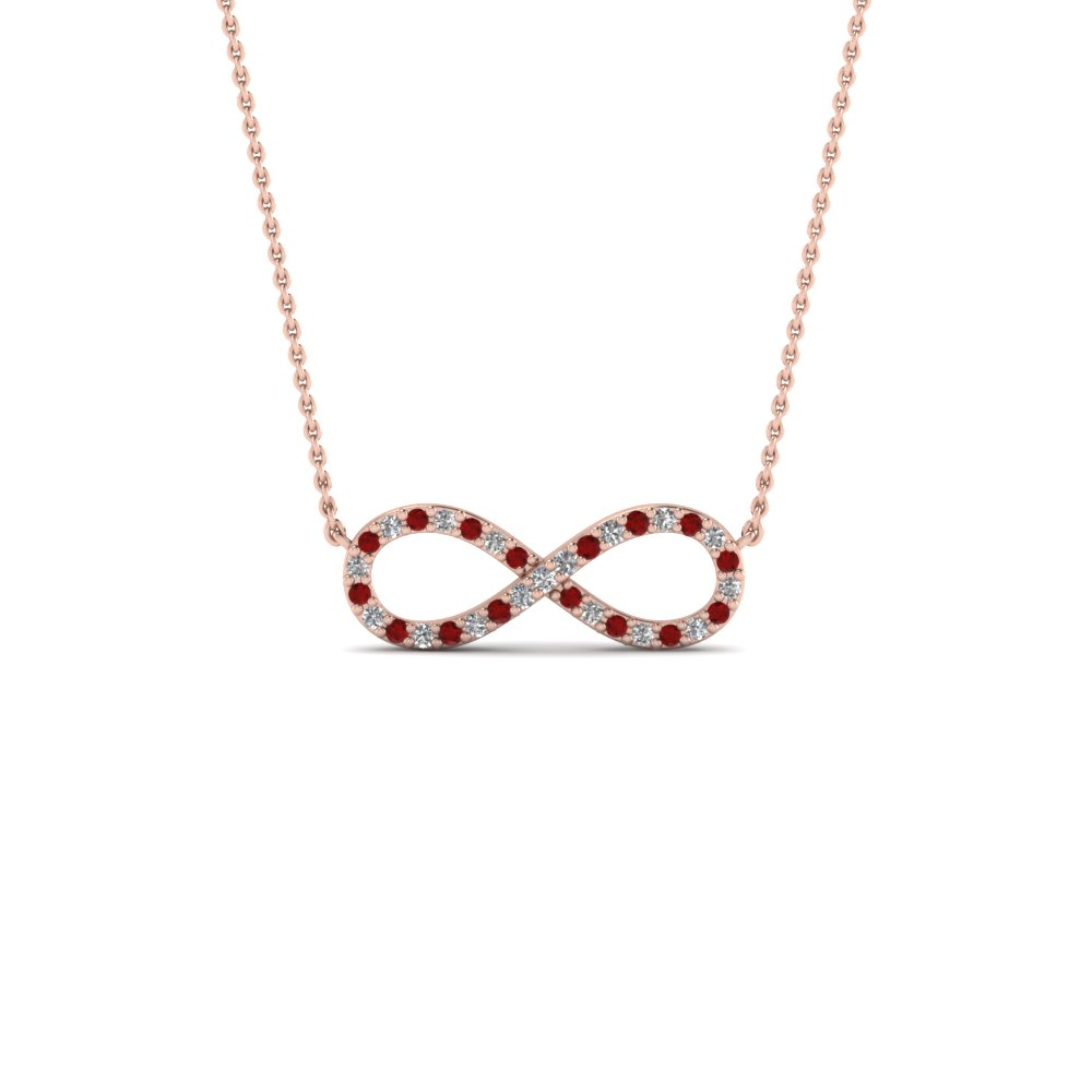 Infinity diamond necklace pendant with ruby in FDPD8074GRUDR NL RG