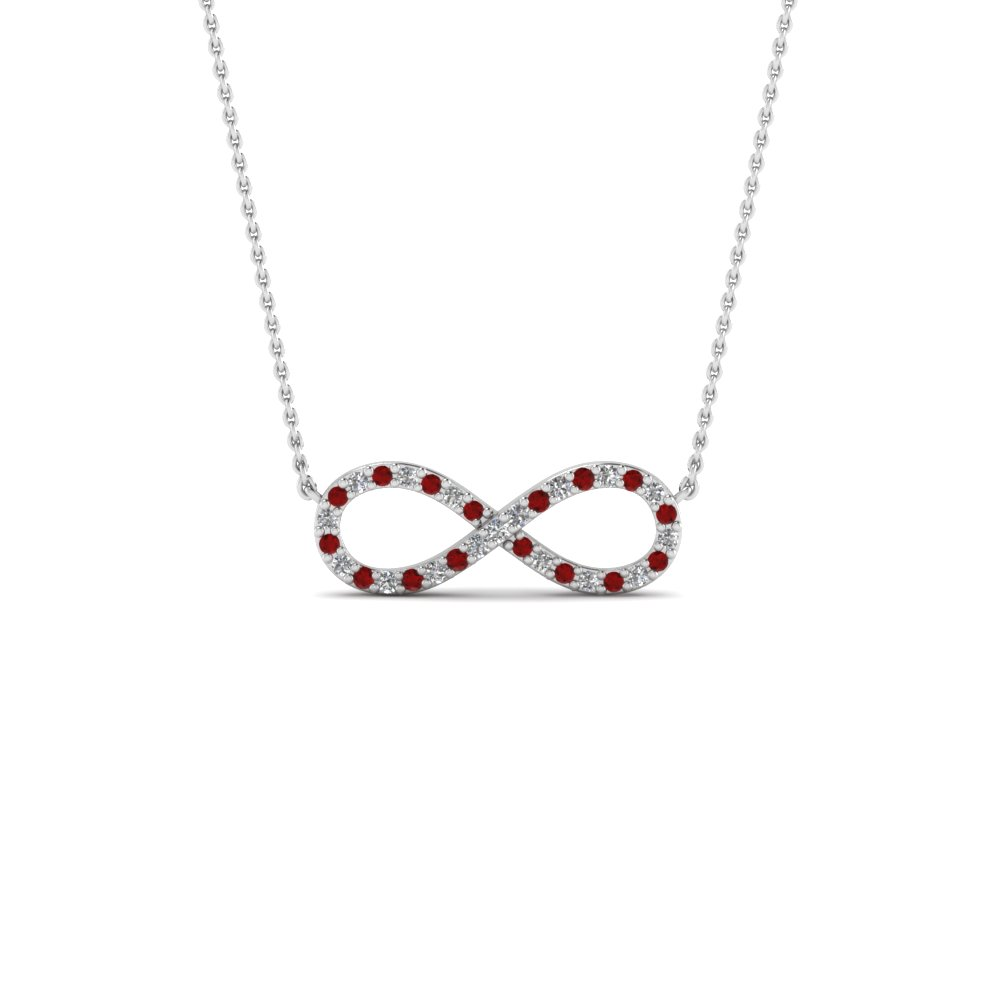 Infinity diamond necklace pendant with ruby in FDPD8074GRUDR NL WG