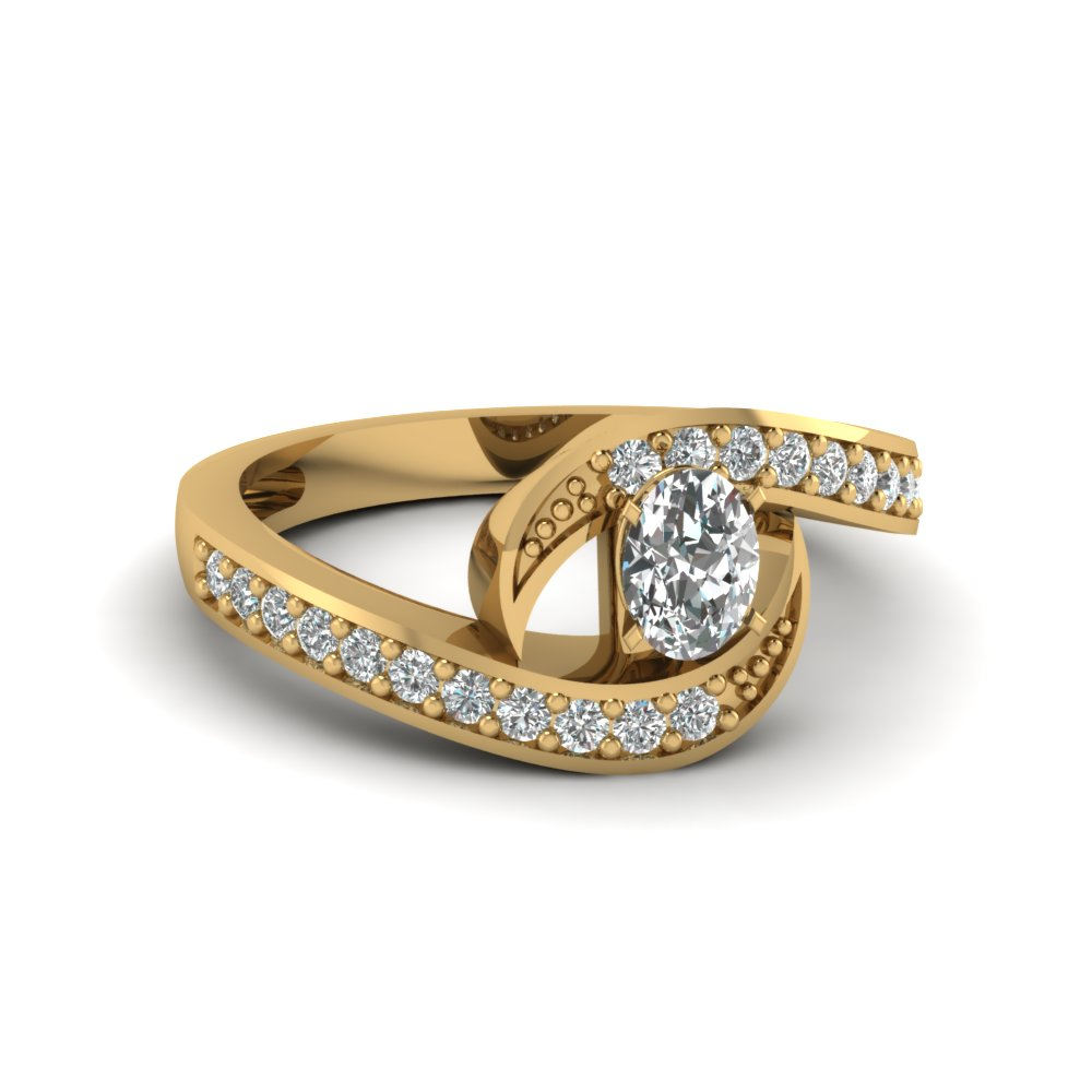 Interlocking gold diamond discounted engagement ring in FDENS3006OVR NL YG 30