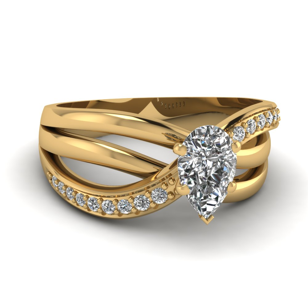 Interwoven pave pear half carat diamond engagement ring in 14K yellow gold FD67814PER NL YG