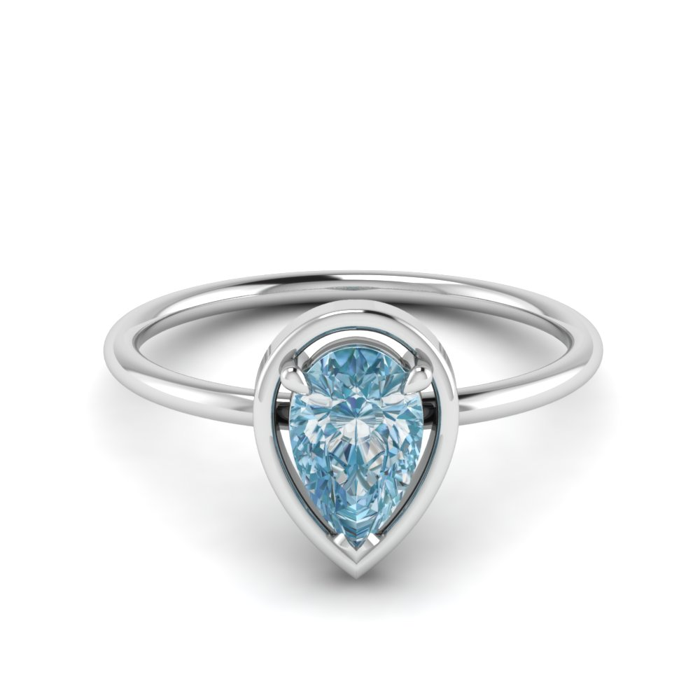 Aquamarine Pear Ring