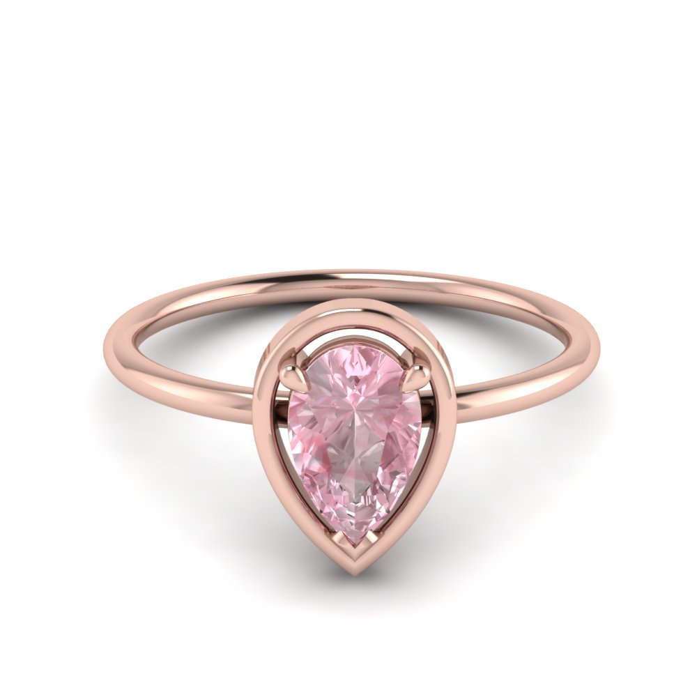 Pear Morganite Solitaire Ring