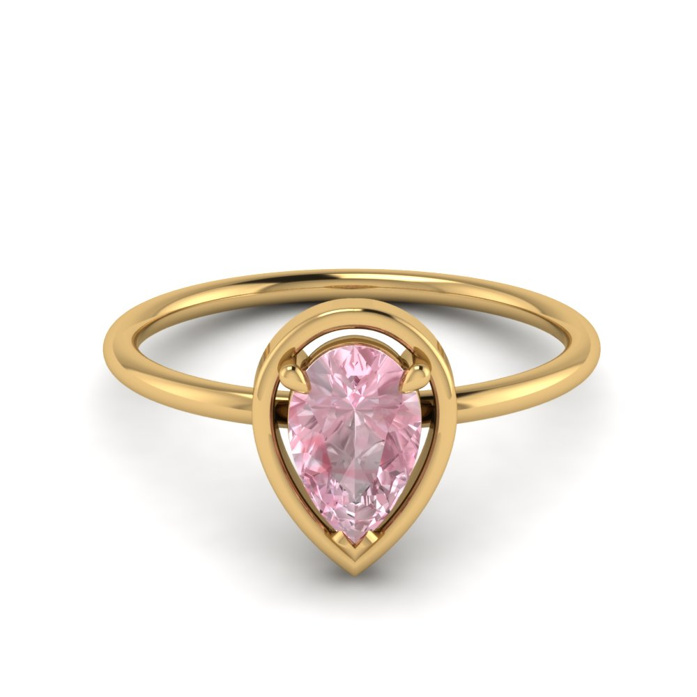Pear Pink Morganite Solitaire Ring